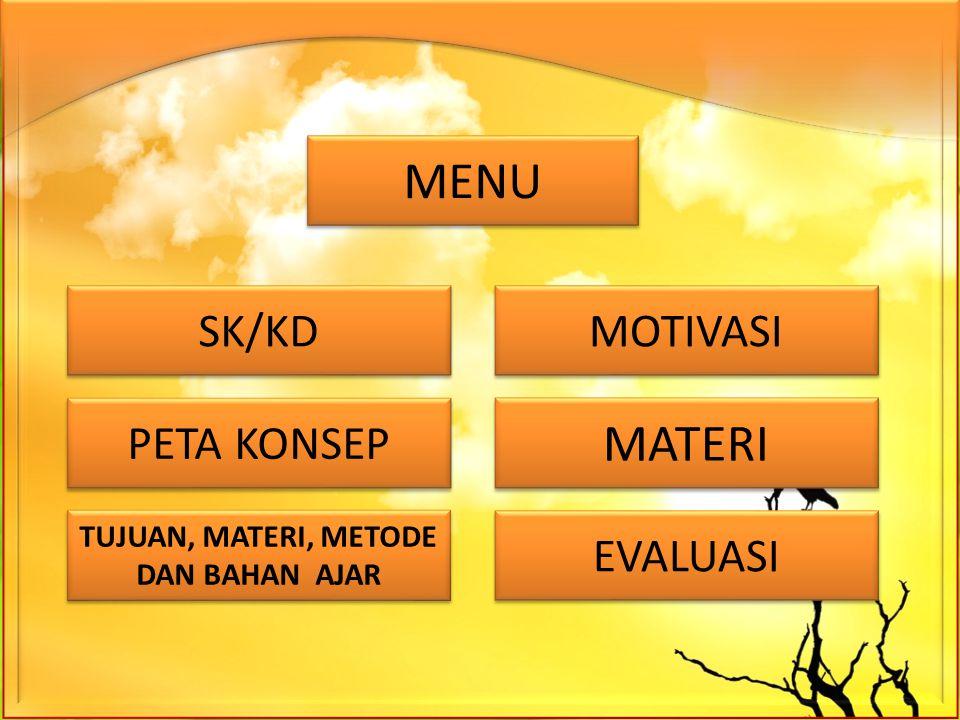 SK/KD PETA KONSEP TUJUAN, MATERI, METODE DAN BAHAN AJAR TUJUAN, MATERI, METODE DAN BAHAN AJAR MOTIVASI MATERI MENU EVALUASI