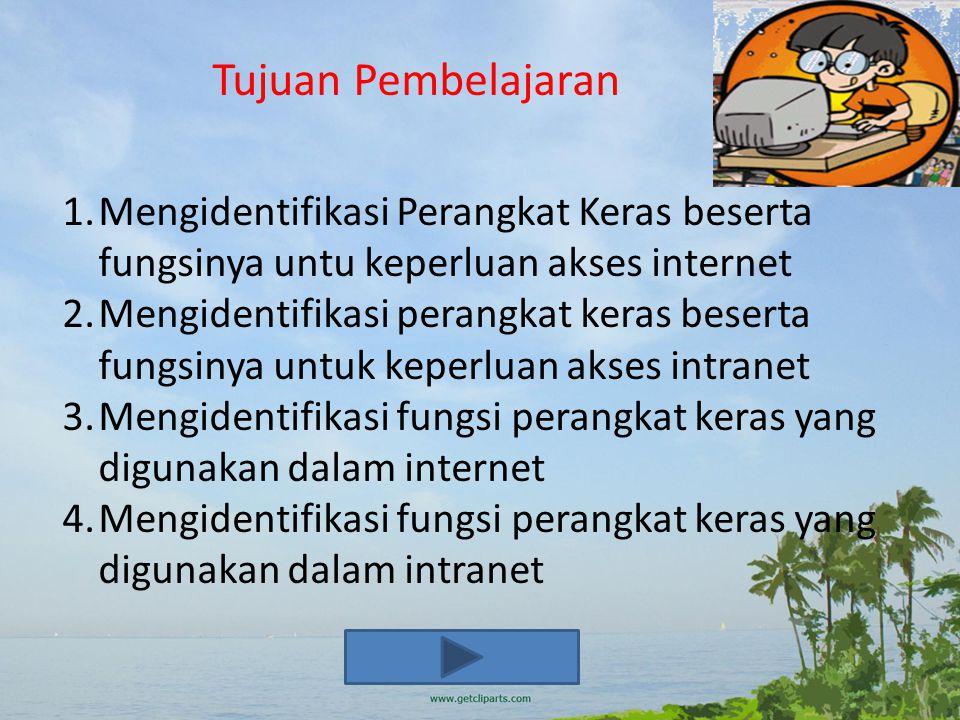Tujuan Pembelajaran 1.Mengidentifikasi Perangkat Keras beserta fungsinya untu keperluan akses internet 2.Mengidentifikasi perangkat keras beserta fungsinya untuk keperluan akses intranet 3.Mengidentifikasi fungsi perangkat keras yang digunakan dalam internet 4.Mengidentifikasi fungsi perangkat keras yang digunakan dalam intranet