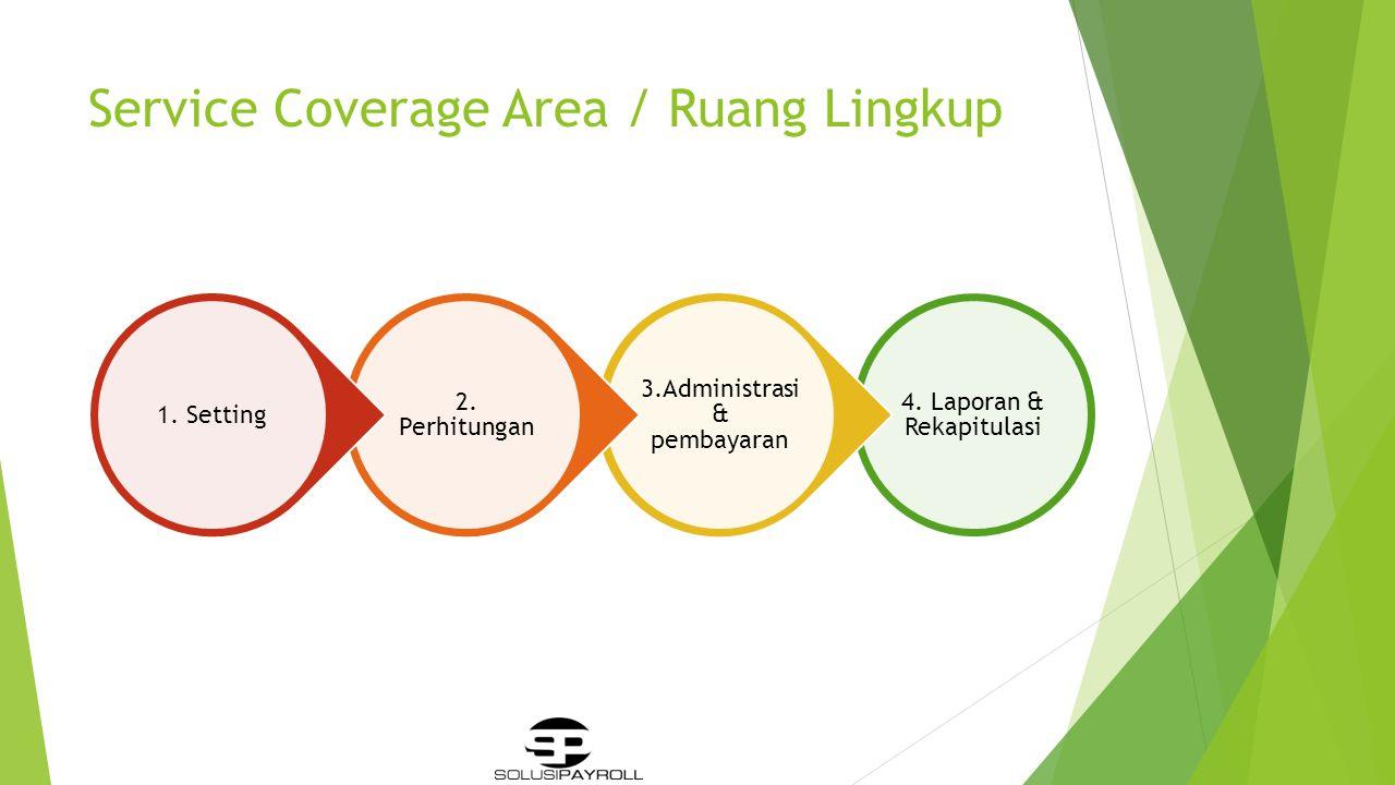 Service Coverage Area / Ruang Lingkup 4.Laporan & Rekapitulasi 3.Administrasi & pembayaran 2.