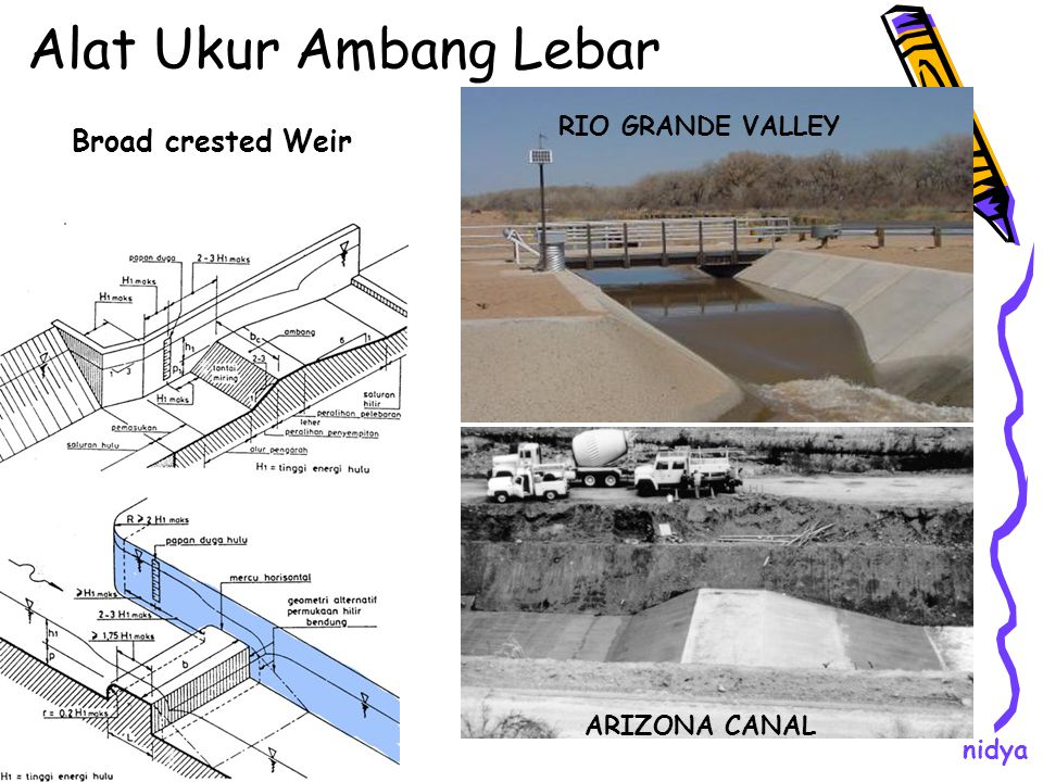 Alat Ukur Ambang Lebar RIO GRANDE VALLEY ARIZONA CANAL Broad crested Weir nidya