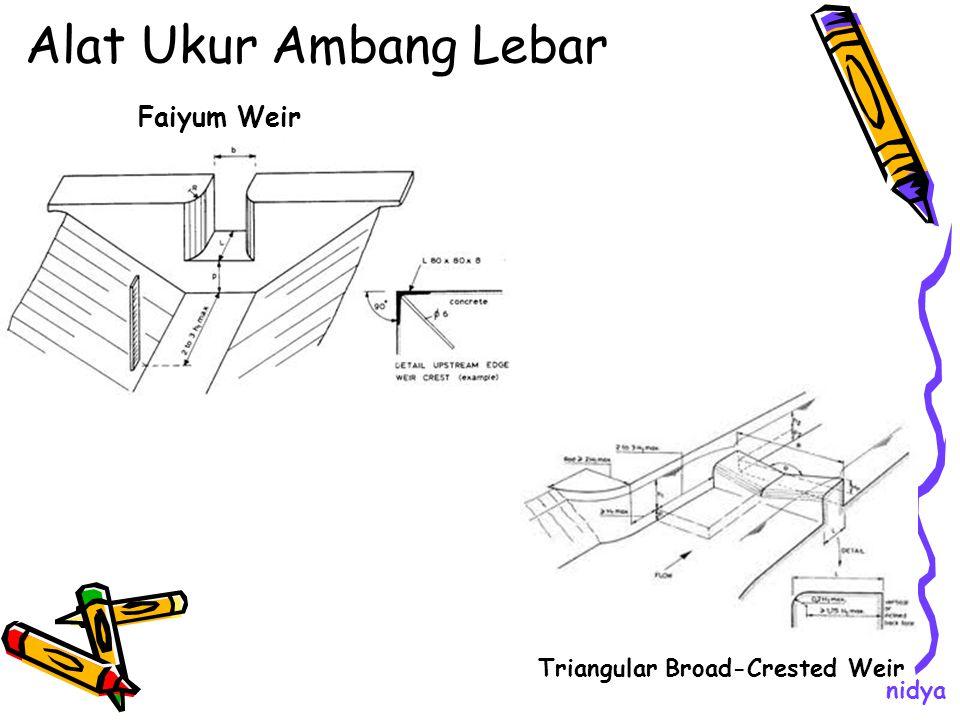Alat Ukur Ambang Lebar Triangular Broad-Crested Weir Faiyum Weir nidya