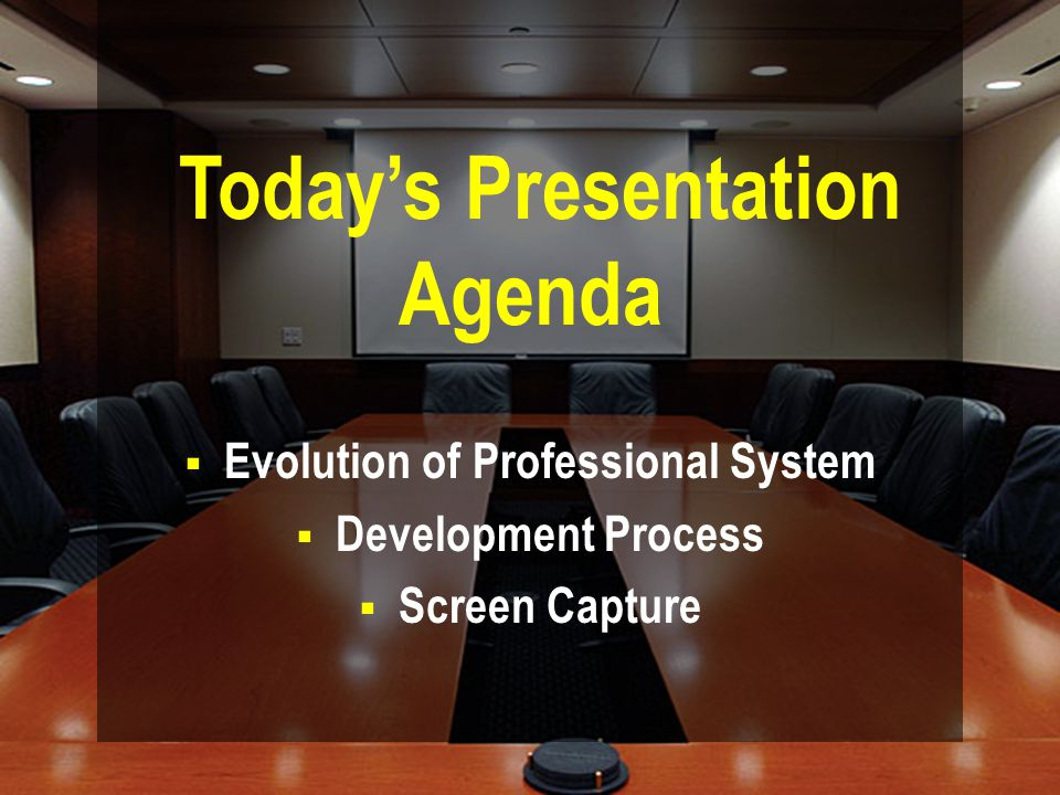  Evolution of Professional System  Development Process  Screen Capture Today's Presentation Agenda