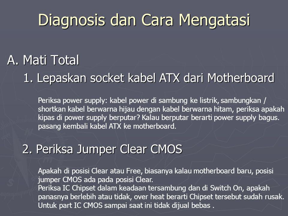 Diagnosis dan Cara Mengatasi A. Mati Total 1. Lepaskan socket kabel ATX dari Motherboard Periksa power supply: kabel power di sambung ke listrik, samb