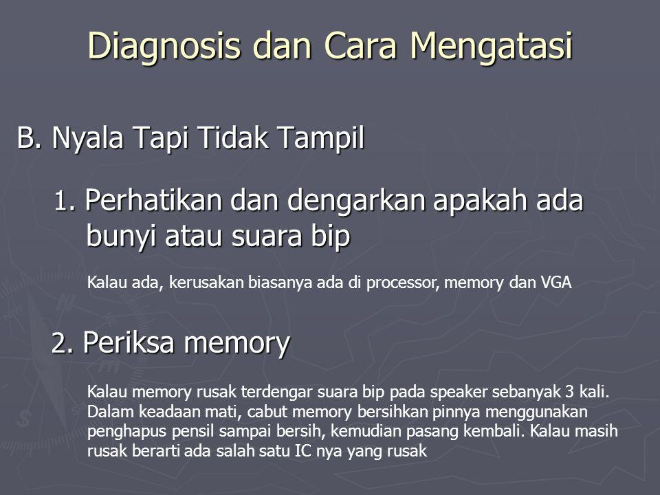 Diagnosis dan Cara Mengatasi B. Nyala Tapi Tidak Tampil 1. Perhatikan dan dengarkan apakah ada bunyi atau suara bip Kalau ada, kerusakan biasanya ada