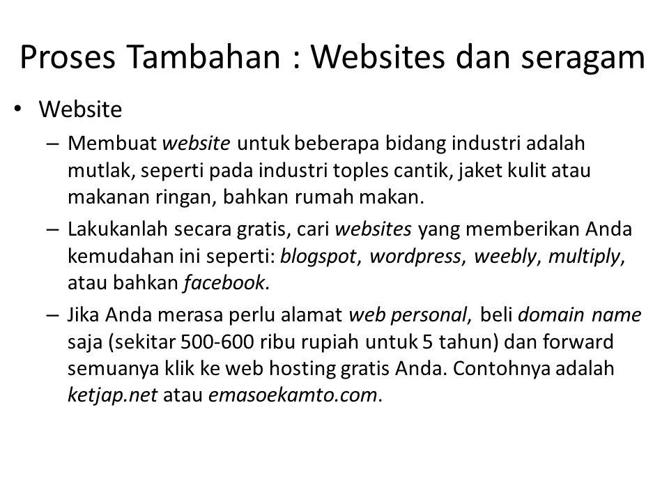 Proses Tambahan : Websites dan seragam Website – Membuat website untuk beberapa bidang industri adalah mutlak, seperti pada industri toples cantik, ja