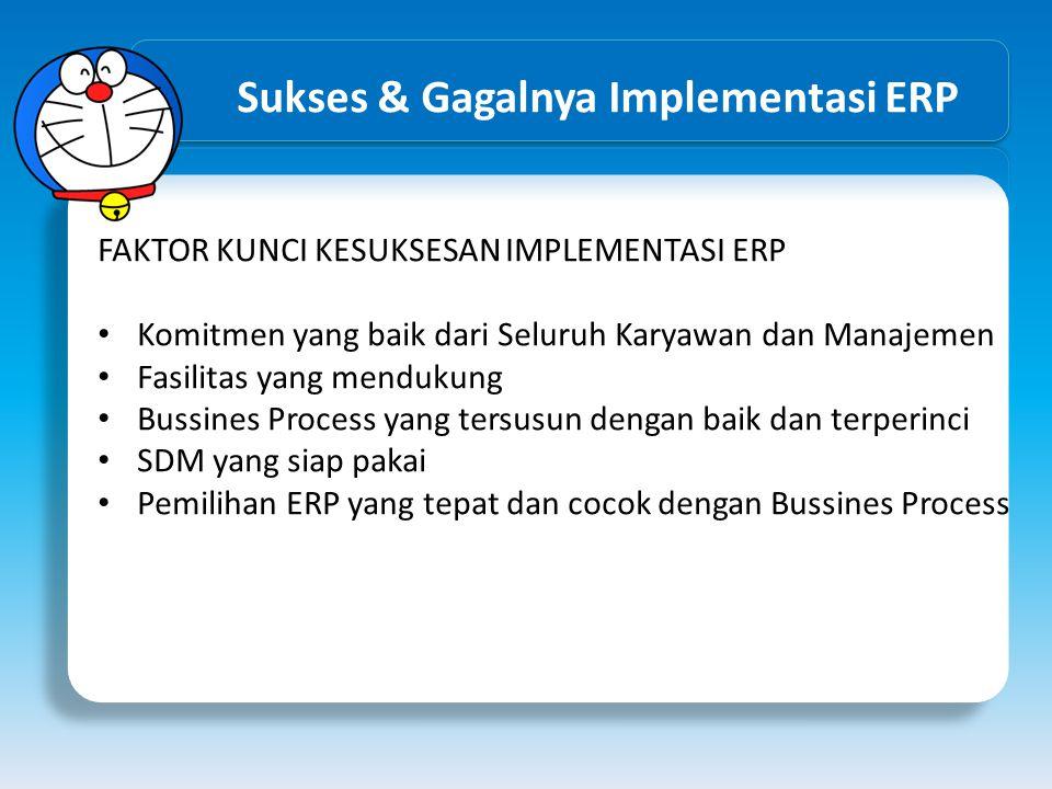 Sukses & Gagalnya Implementasi ERP FAKTOR KUNCI KESUKSESAN IMPLEMENTASI ERP Komitmen yang baik dari Seluruh Karyawan dan Manajemen Fasilitas yang mend