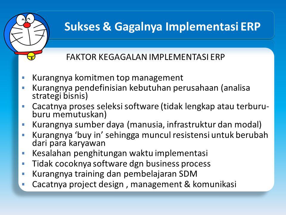 Sukses & Gagalnya Implementasi ERP FAKTOR KEGAGALAN IMPLEMENTASI ERP  Kurangnya komitmen top management  Kurangnya pendefinisian kebutuhan perusahaa
