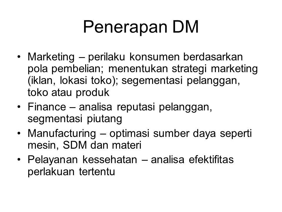 Penerapan DM Marketing – perilaku konsumen berdasarkan pola pembelian; menentukan strategi marketing (iklan, lokasi toko); segementasi pelanggan, toko