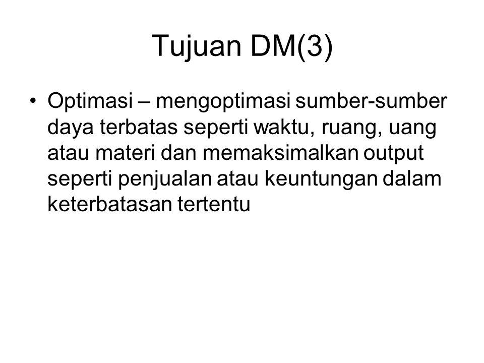 Tujuan DM(3) Optimasi – mengoptimasi sumber-sumber daya terbatas seperti waktu, ruang, uang atau materi dan memaksimalkan output seperti penjualan ata