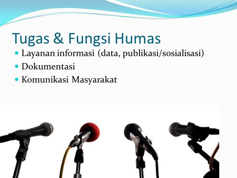 Tugas & Fungsi Humas Layanan informasi (data, publikasi/sosialisasi) Dokumentasi Komunikasi Masyarakat