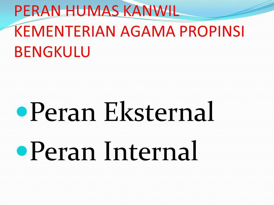 PERAN HUMAS KANWIL KEMENTERIAN AGAMA PROPINSI BENGKULU Peran Eksternal Peran Internal