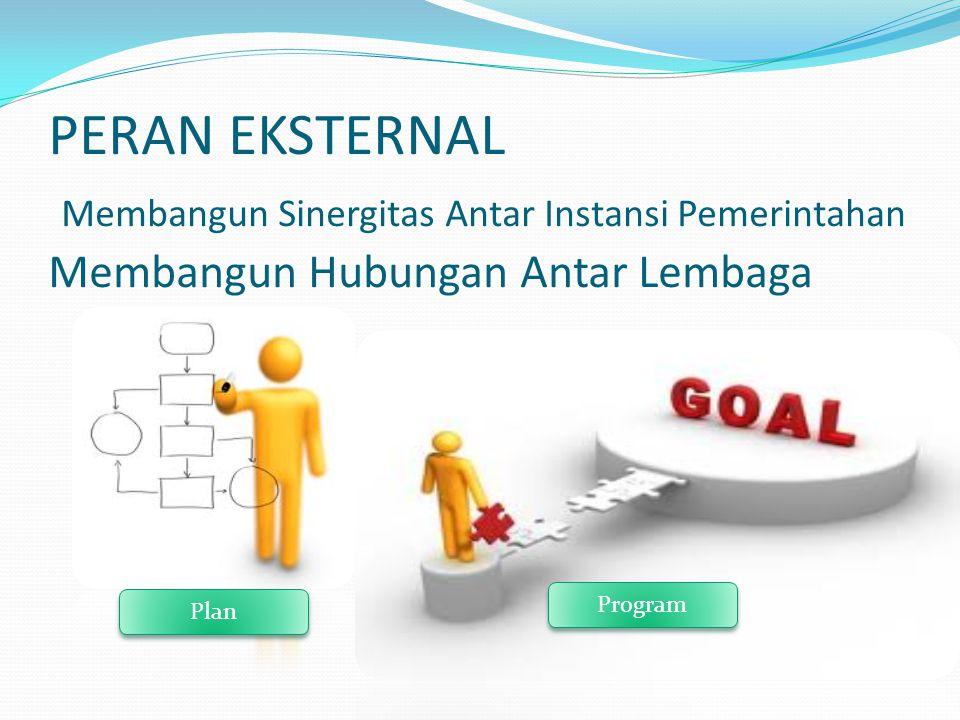 PERAN EKSTERNAL Membangun Sinergitas Antar Instansi Pemerintahan Membangun Hubungan Antar Lembaga Plan Program