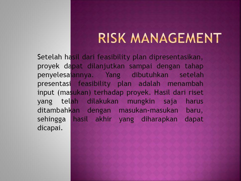  Adapun hasil output dari pengidentifikasian risiko adalah:  Daftar sumber-sumber risiko  Yang seringkali menjadi sumber risiko proyek antara lain: perubahan requirements, kesalahan design, pendefinisian peran kerja yang lemah, kesalahan estimasi, dan tim kerja yang kurang mapan.
