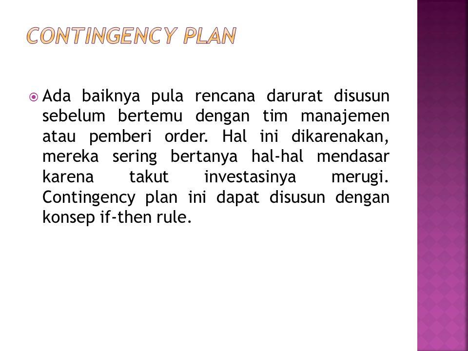  Ada baiknya pula rencana darurat disusun sebelum bertemu dengan tim manajemen atau pemberi order.