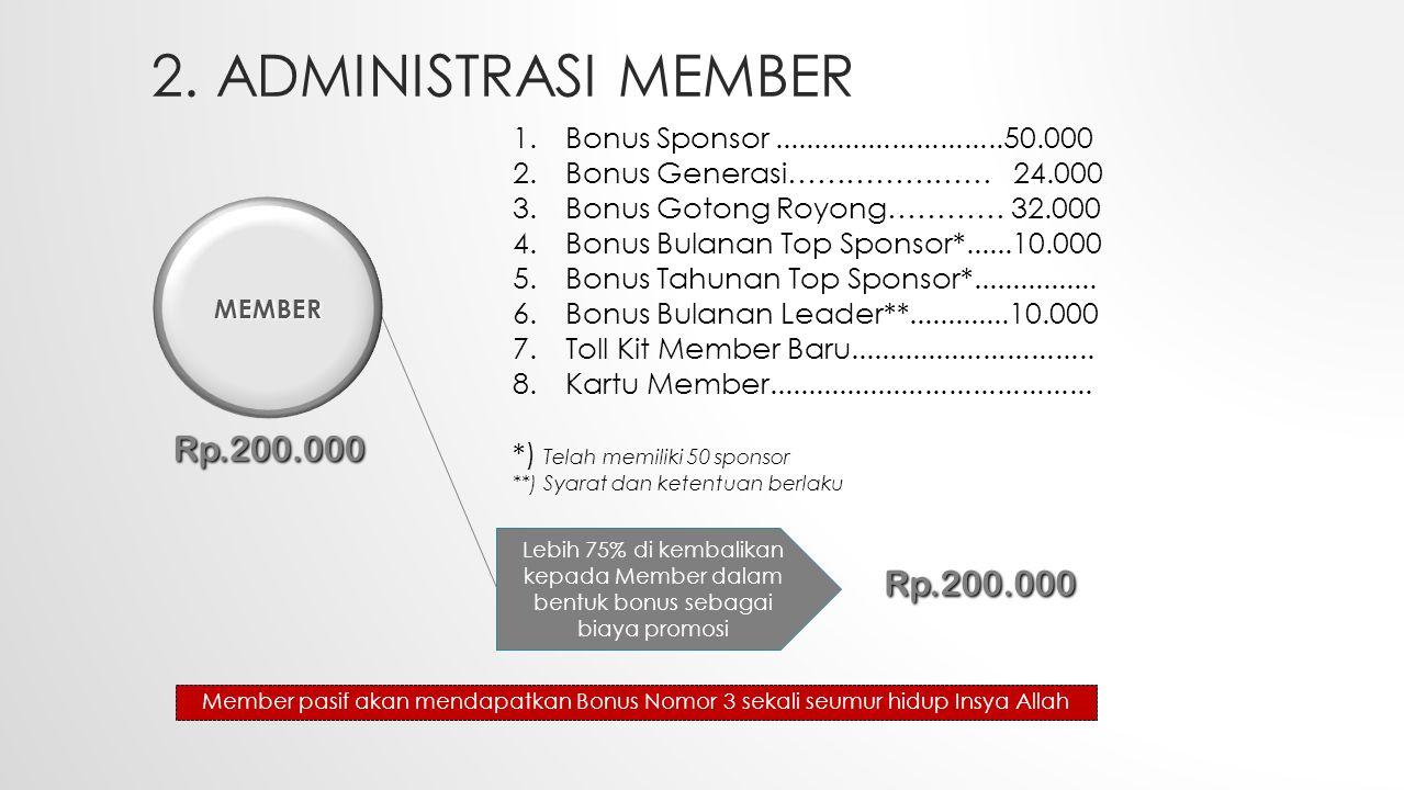 2. ADMINISTRASI MEMBER Lebih 75% di kembalikan kepada Member dalam bentuk bonus sebagai biaya promosi Rp.200.000 1.Bonus Sponsor......................