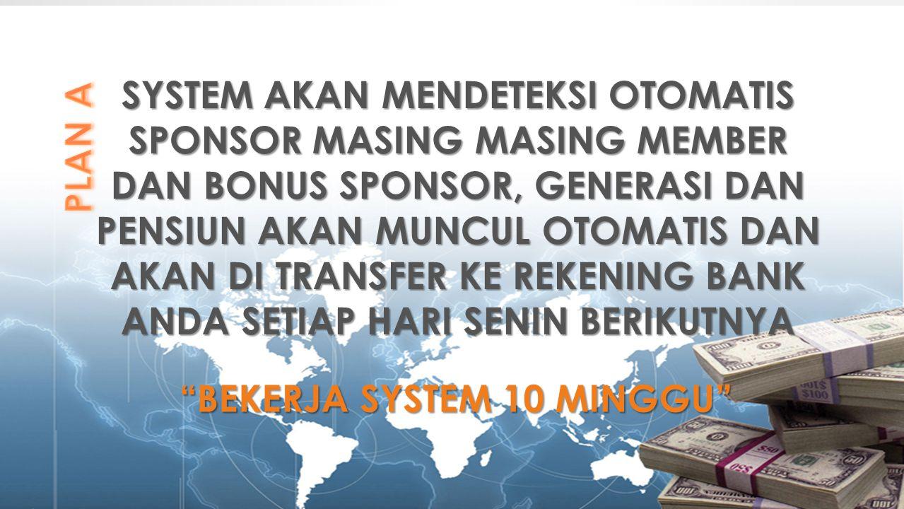 SYSTEM AKAN MENDETEKSI OTOMATIS SPONSOR MASING MASING MEMBER DAN BONUS SPONSOR, GENERASI DAN PENSIUN AKAN MUNCUL OTOMATIS DAN AKAN DI TRANSFER KE REKE