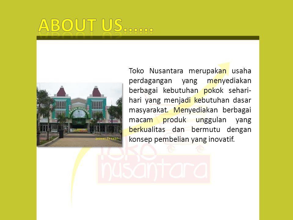 Toko Nusantara merupakan usaha perdagangan yang menyediakan berbagai kebutuhan pokok sehari- hari yang menjadi kebutuhan dasar masyarakat.