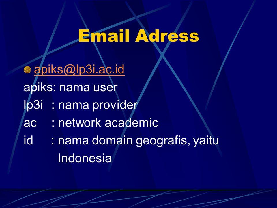 Email Adress apiks@lp3i.ac.id apiks: nama user lp3i: nama provider ac: network academic id : nama domain geografis, yaitu Indonesia