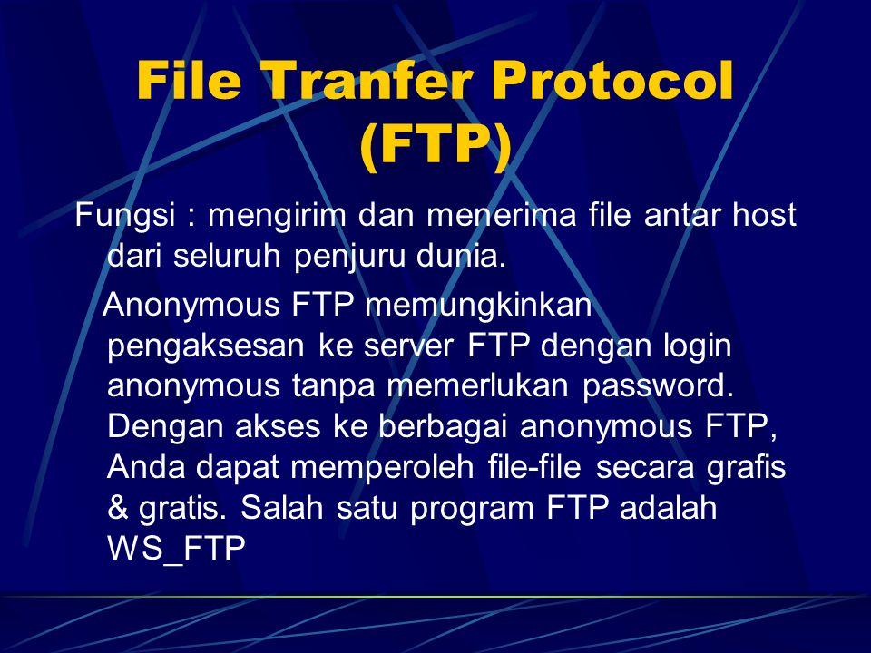 File Tranfer Protocol (FTP) Fungsi : mengirim dan menerima file antar host dari seluruh penjuru dunia.
