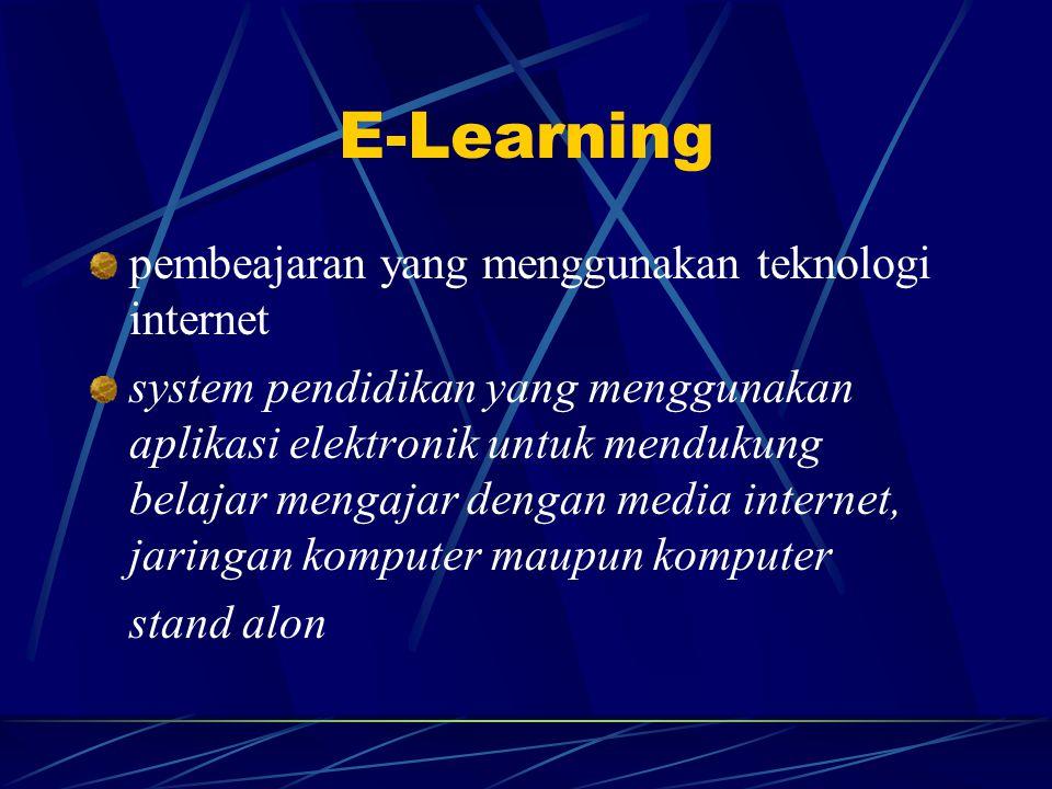 E-Learning pembeajaran yang menggunakan teknologi internet system pendidikan yang menggunakan aplikasi elektronik untuk mendukung belajar mengajar dengan media internet, jaringan komputer maupun komputer stand alon