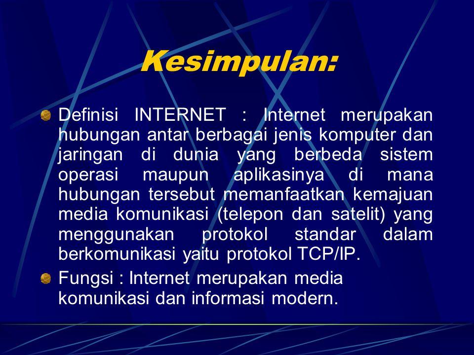 Internet Phone/Conference Fasilitas untuk melakukan percakapan jarak jauh via INTERNET.