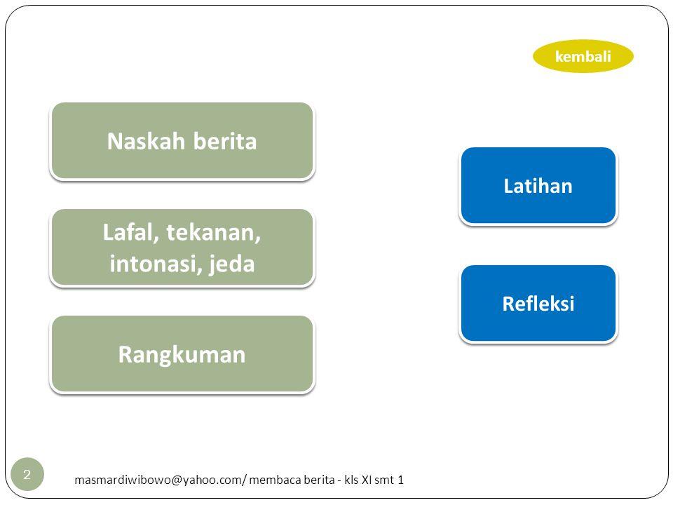 2 Latihan Refleksi kembali Naskah berita Rangkuman masmardiwibowo@yahoo.com/ membaca berita - kls XI smt 1 Lafal, tekanan, intonasi, jeda Lafal, tekan