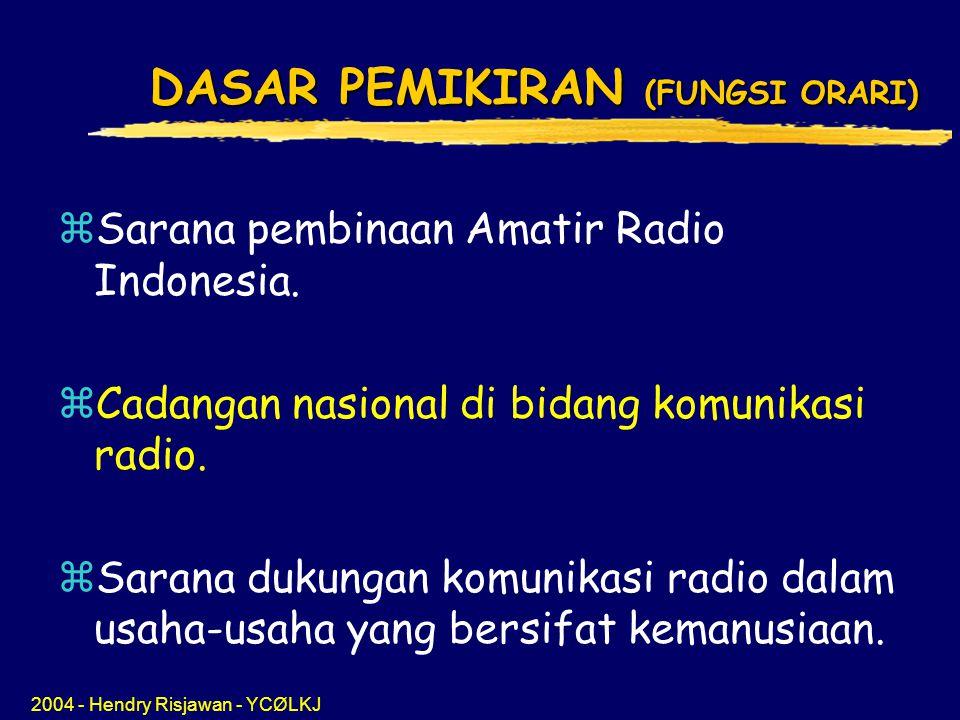 2004 - Hendry Risjawan - YCØLKJ DASAR PEMIKIRAN (FUNGSI ORARI) zSarana pembinaan Amatir Radio Indonesia.