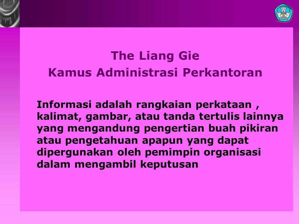 The Liang Gie Kamus Administrasi Perkantoran Informasi adalah rangkaian perkataan, kalimat, gambar, atau tanda tertulis lainnya yang mengandung penger