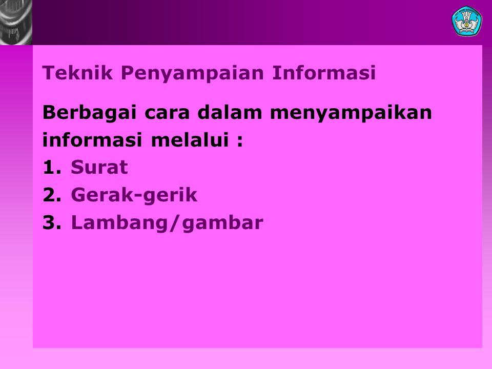 Teknik Penyampaian Informasi Berbagai cara dalam menyampaikan informasi melalui : 1.Surat 2.Gerak-gerik 3.Lambang/gambar