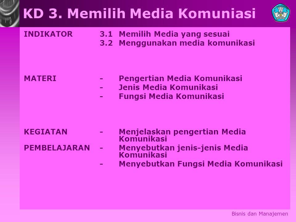 Bisnis dan Manajemen KD 3. Memilih Media Komuniasi INDIKATOR 3.1 Memilih Media yang sesuai 3.2 Menggunakan media komunikasi MATERI-Pengertian Media Ko
