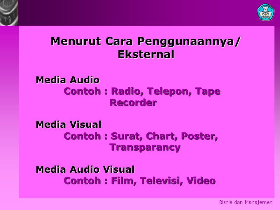 Bisnis dan Manajemen Menurut Cara Penggunaannya/ Eksternal Media Audio Contoh : Radio, Telepon, Tape Recorder Recorder Media Visual Contoh : Surat, Ch