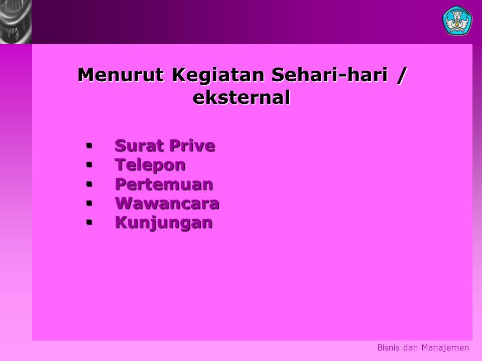 Bisnis dan Manajemen Menurut Kegiatan Sehari-hari / eksternal eksternal  Surat Prive  Telepon  Pertemuan  Wawancara  Kunjungan