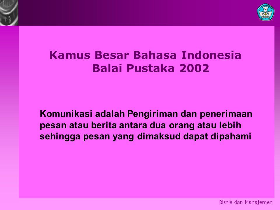 Bisnis dan Manajemen Kamus Besar Bahasa Indonesia Balai Pustaka 2002 Komunikasi adalah Pengiriman dan penerimaan pesan atau berita antara dua orang at