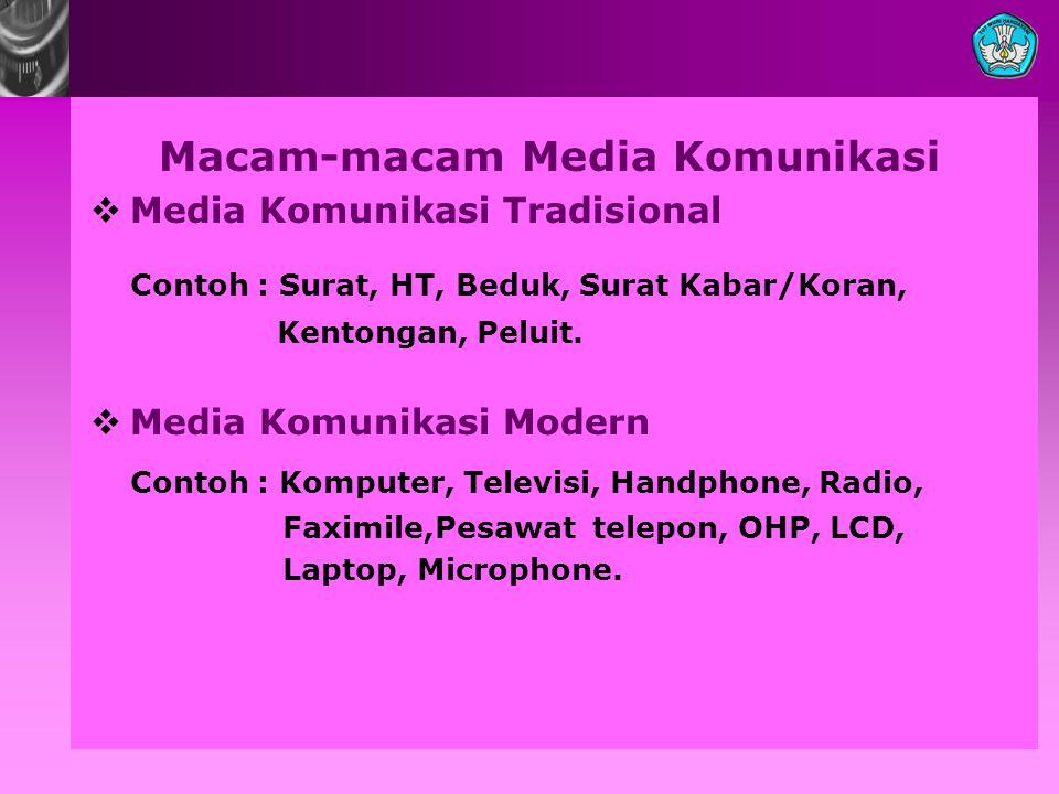 Macam-macam Media Komunikasi  Media Komunikasi Tradisional Contoh : Surat, HT, Beduk, Surat Kabar/Koran, Kentongan, Peluit.  Media Komunikasi Modern