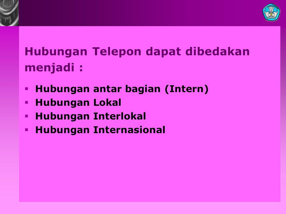 Hubungan Telepon dapat dibedakan menjadi :  Hubungan antar bagian (Intern)  Hubungan Lokal  Hubungan Interlokal  Hubungan Internasional