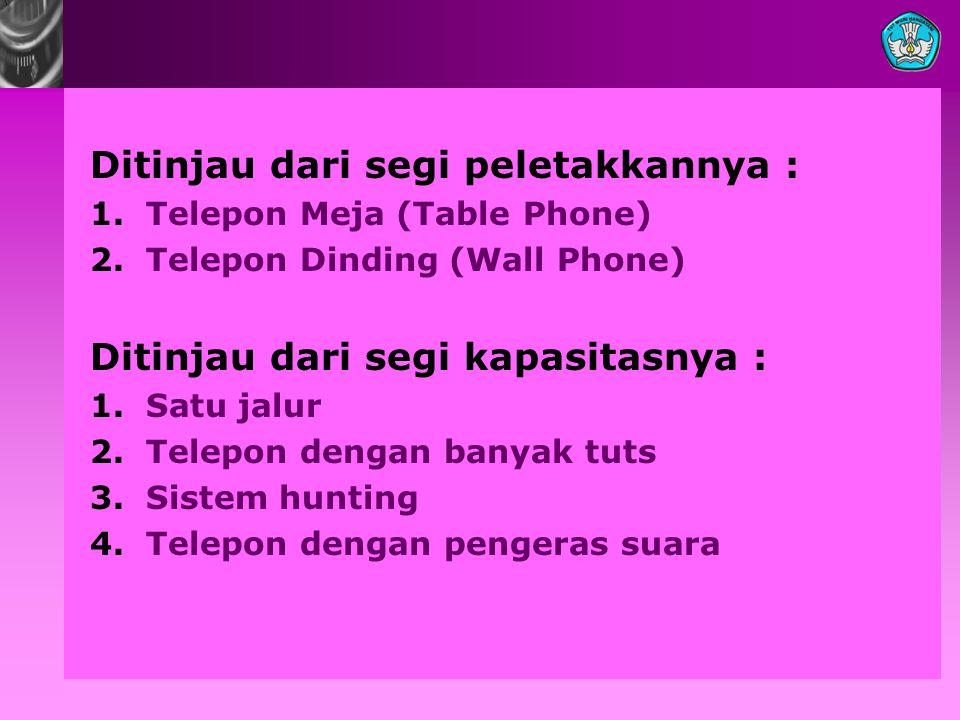 Ditinjau dari segi peletakkannya : 1.Telepon Meja (Table Phone) 2.Telepon Dinding (Wall Phone) Ditinjau dari segi kapasitasnya : 1.Satu jalur 2.Telepo