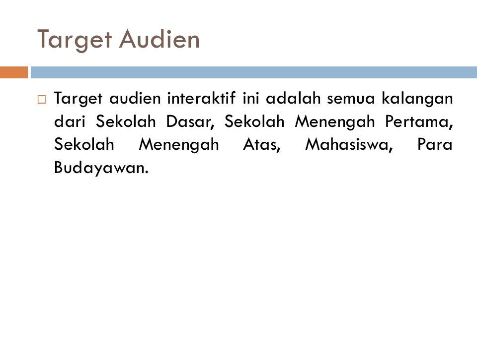 Target Audien  Target audien interaktif ini adalah semua kalangan dari Sekolah Dasar, Sekolah Menengah Pertama, Sekolah Menengah Atas, Mahasiswa, Par