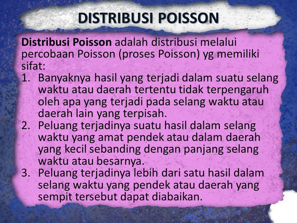 DISTRIBUSI POISSON Distribusi Poisson adalah distribusi melalui percobaan Poisson (proses Poisson) yg memiliki sifat: 1.Banyaknya hasil yang terjadi d