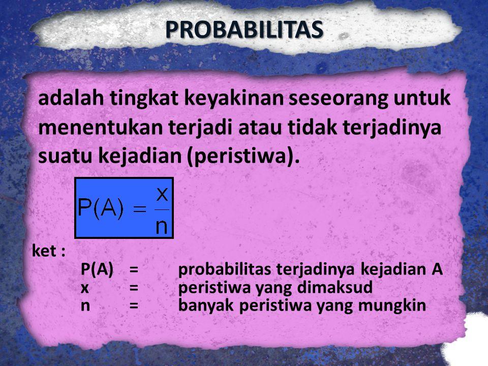 PROBABILITAS adalah tingkat keyakinan seseorang untuk menentukan terjadi atau tidak terjadinya suatu kejadian (peristiwa). ket : P(A)= probabilitas te