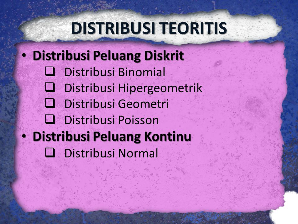 Distribusi Peluang Diskrit Distribusi Peluang Diskrit  Distribusi Binomial  Distribusi Hipergeometrik  Distribusi Geometri  Distribusi Poisson Dis