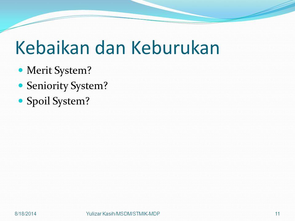 Kebaikan dan Keburukan Merit System? Seniority System? Spoil System? 8/18/2014Yulizar Kasih/MSDM/STMIK-MDP11