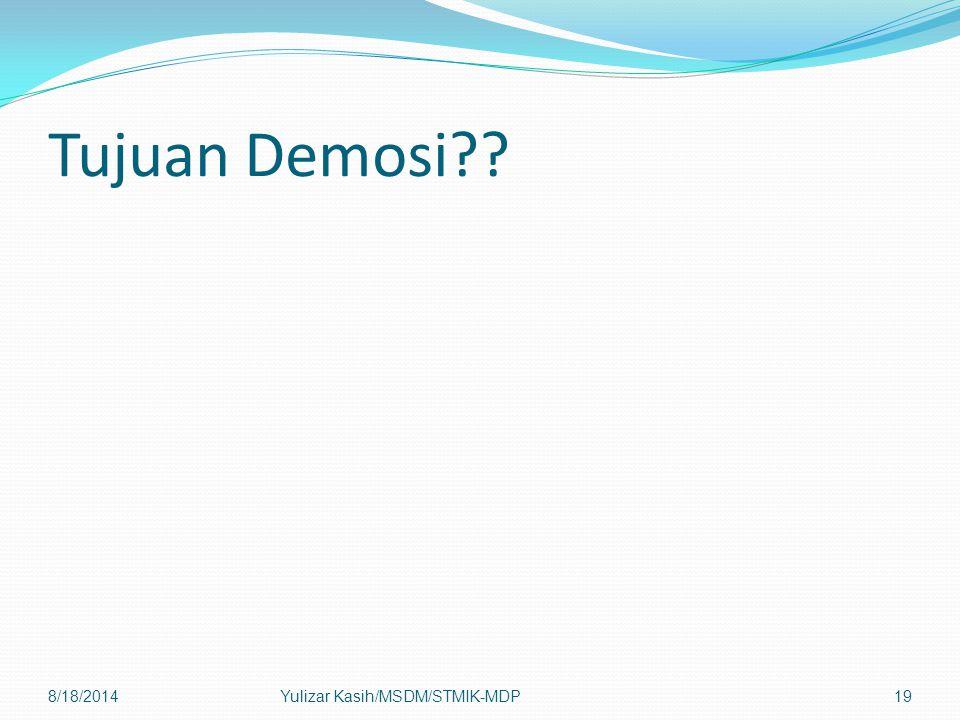 Tujuan Demosi 8/18/2014Yulizar Kasih/MSDM/STMIK-MDP19