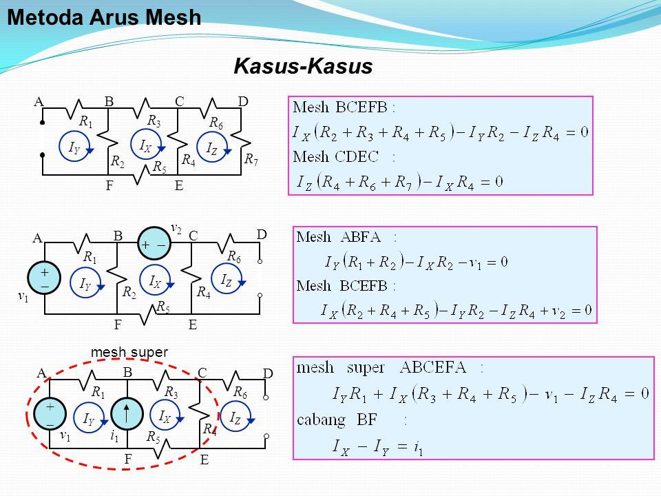 Kasus-Kasus R2R2 IZIZ R3R3 R5R5 R4R4 R1R1 R6R6 R7R7 BC EF AD IXIX IYIY R2R2 ++ R5R5 R4R4 R1R1 R6R6 v1v1 BC EF A D v2v2 +  IYIY IXIX IZIZ mesh super R3R3 ++ R5R5 R4R4 R1R1 R6R6 v1v1 B C E F A D i1i1 IYIY IXIX IZIZ Metoda Arus Mesh