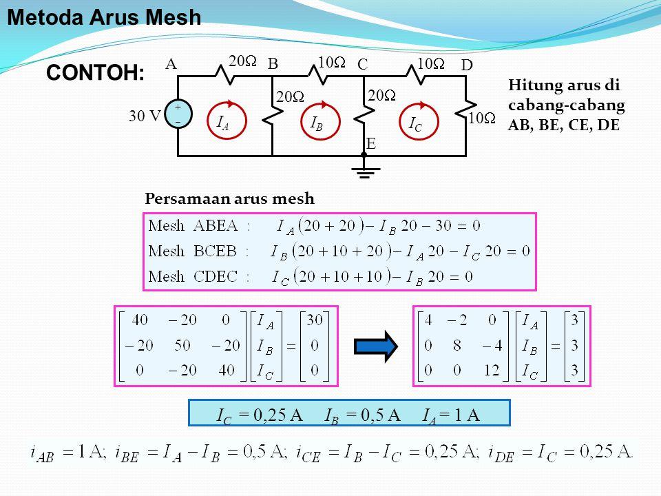 10  30 V 20  10  20  10  AB C D E ++ ICIC IBIB IAIA I C = 0,25 A I B = 0,5 A I A = 1 A CONTOH: Metoda Arus Mesh Persamaan arus mesh Hitung arus di cabang-cabang AB, BE, CE, DE