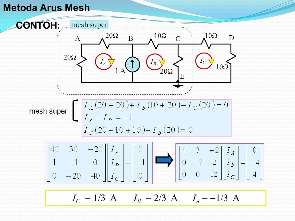 mesh super 10  1 A 20  10  20  10  AB C D E IAIA IBIB ICIC mesh super I C = 1/3 A I B = 2/3 A I A =  1/3 A CONTOH: Metoda Arus Mesh