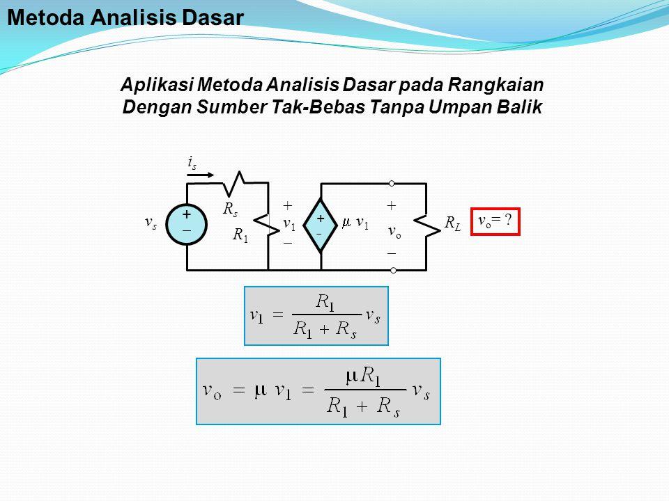 Aplikasi Metoda Analisis Dasar pada Rangkaian Dengan Sumber Tak-Bebas Tanpa Umpan Balik RsRs ++ ++ +   v1  v1 RLRL + v 1  vsvs i s R1R1 v o = .