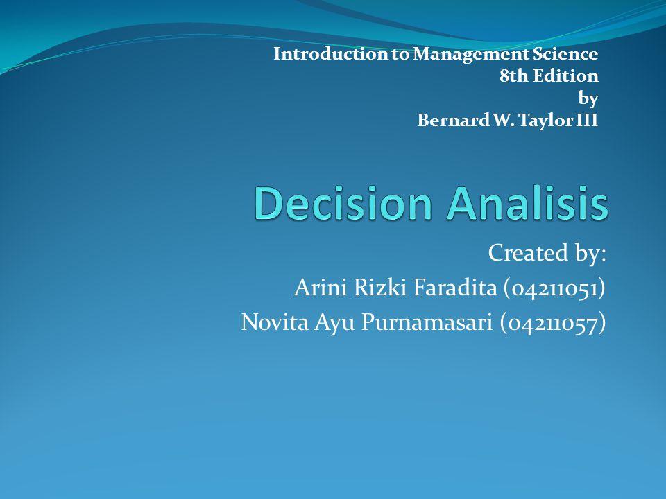 Created by: Arini Rizki Faradita (04211051) Novita Ayu Purnamasari (04211057) Introduction to Management Science 8th Edition by Bernard W. Taylor III