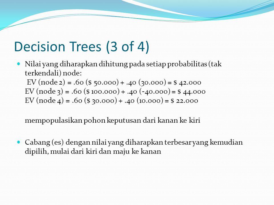 Decision Trees (3 of 4) Nilai yang diharapkan dihitung pada setiap probabilitas (tak terkendali) node: EV (node  2) =.60 ($ 50.000) +.40 (30.000) = $ 42.000 EV (node  3) =.60 ($ 100.000) +.40 (-40.000) = $ 44.000 EV (node  4) =.60 ($ 30.000) +.40 (10.000) = $ 22.000 mempopulasikan pohon keputusan dari kanan ke kiri Cabang (es) dengan nilai yang diharapkan terbesar yang kemudian dipilih, mulai dari kiri dan maju ke kanan