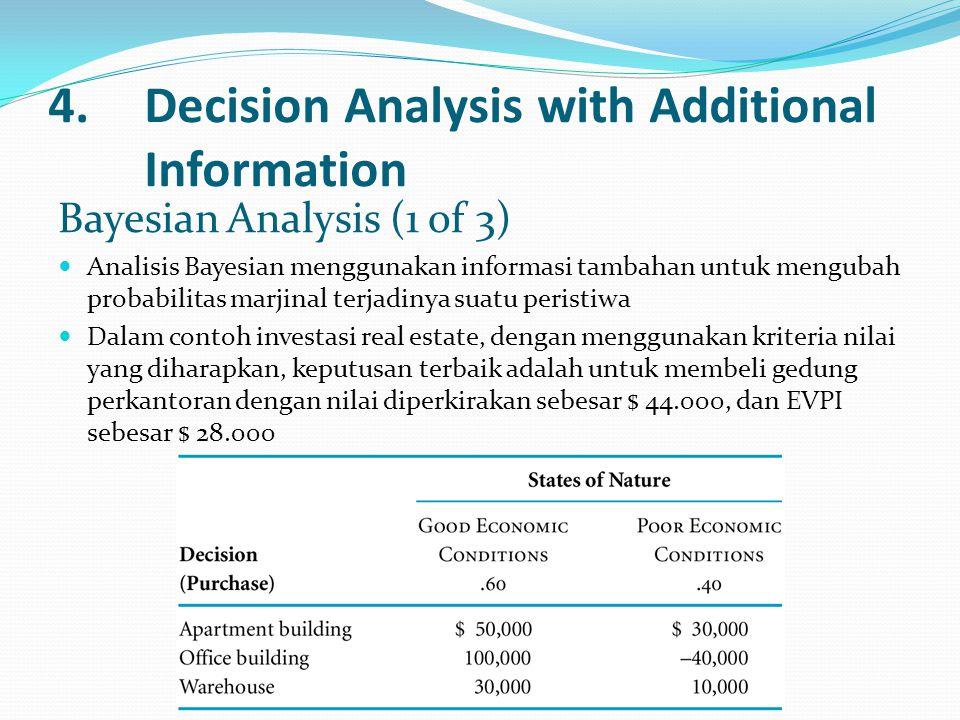 4.Decision Analysis with Additional Information Bayesian Analysis (1 of 3) Analisis Bayesian menggunakan informasi tambahan untuk mengubah probabilitas marjinal terjadinya suatu peristiwa Dalam contoh investasi real estate, dengan menggunakan kriteria nilai yang diharapkan, keputusan terbaik adalah untuk membeli gedung perkantoran dengan nilai diperkirakan sebesar $ 44.000, dan EVPI sebesar $ 28.000