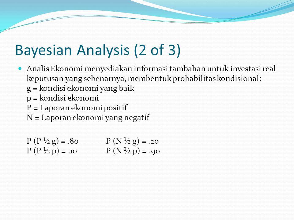 Bayesian Analysis (2 of 3) Analis Ekonomi menyediakan informasi tambahan untuk investasi real keputusan yang sebenarnya, membentuk probabilitas kondisional: g = kondisi ekonomi yang baik p = kondisi ekonomi P = Laporan ekonomi positif N = Laporan ekonomi yang negatif P (P ½ g) =.80 P (N ½ g) =.20 P (P ½ p) =.10 P (N ½ p) =.90